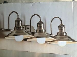 details about allen roth hainsbrook 3 light antique pewter cone bathroom vanity light fixture