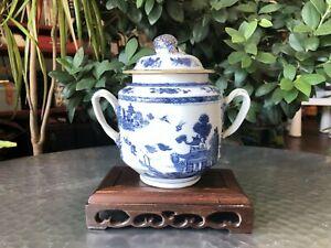 Antique Chinese Qing 18thC Qianlong Period Blue & White Export Sugar Jar w/ lid