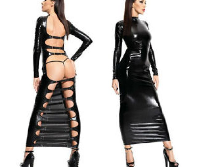 Image Is Loading Sexy Lingerie Wet Pvc Look Faux Leather Long