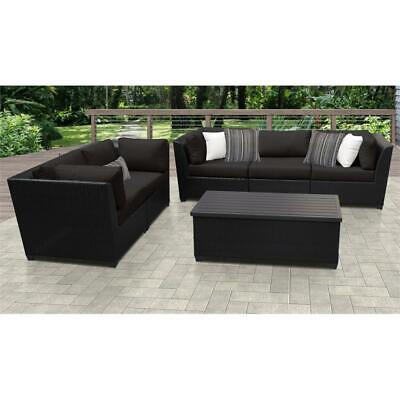 barbados 6 piece outdoor wicker patio furniture set 06p in black ebay