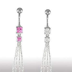 Bauchnabel Piercing Schmuck Doppel Kristallhänger mit 4 Ketten glitzer Fäden
