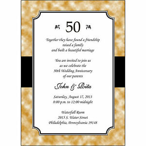 Details About 25 Personalized 50th Golden Wedding Anniversary Invitations Ap020 Gold