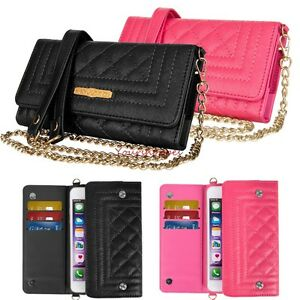 Lady Chain Shoulder Bag Wallet Phone Case For Samsung