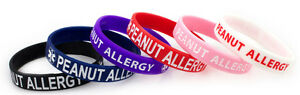 Kids Peanut Allergy Silicone Bracelets- 2 Color Sets-Lot of 3 | eBay