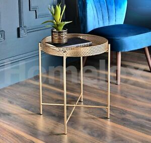 details about tromso gold tray metal coffee table with removable tray top max loading 10kg