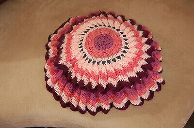 coussin rond ancien dessus au crochet en laine colore vintage ebay