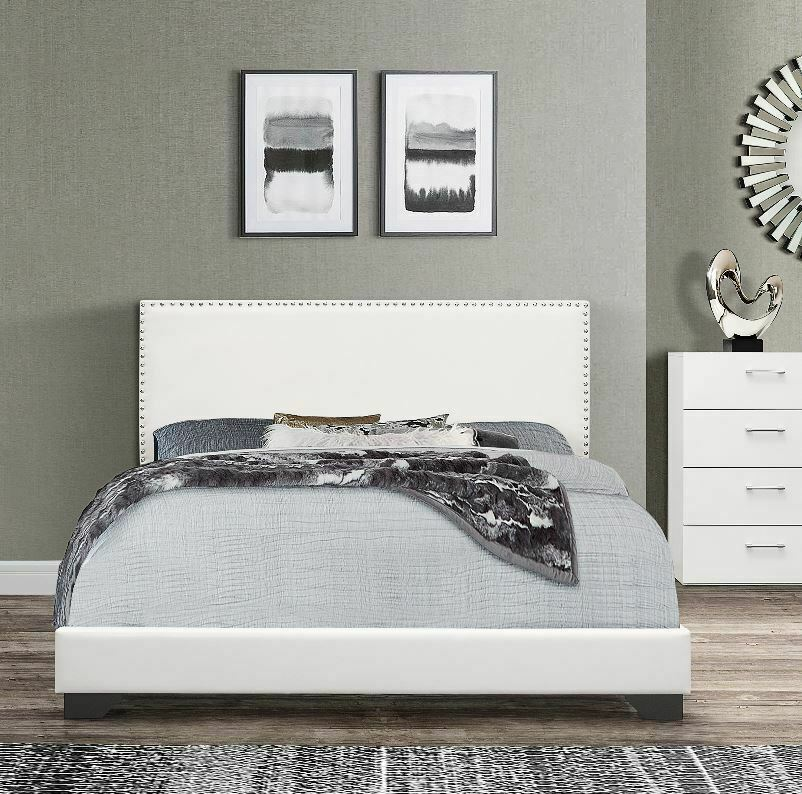 full size bed frame upholstered headboard bedroom furniture white faux leather