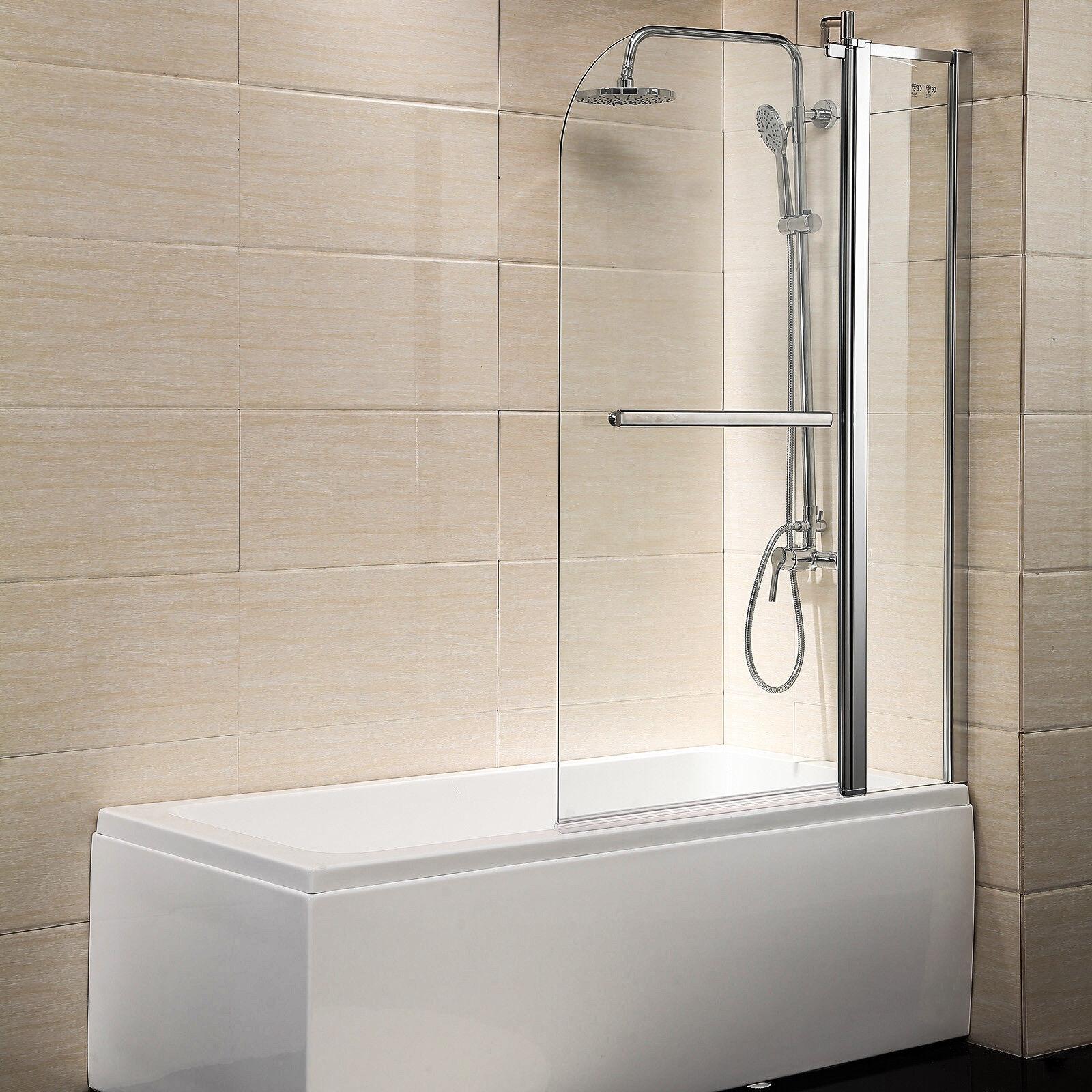Pivot Radius Framed 1 4 Clear Glass 55 X39 Bath Tub Shower Door Chrome Finish