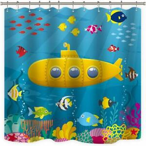 details about yellow submarine under the sea ocean fish fabric shower curtain waterproof