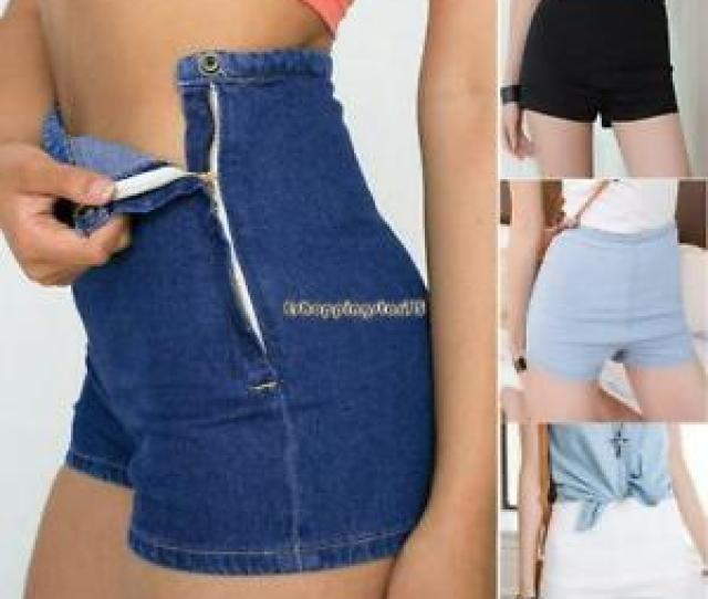 Image Is Loading Girls High Waist Jeans Denim Hot Pants Tight