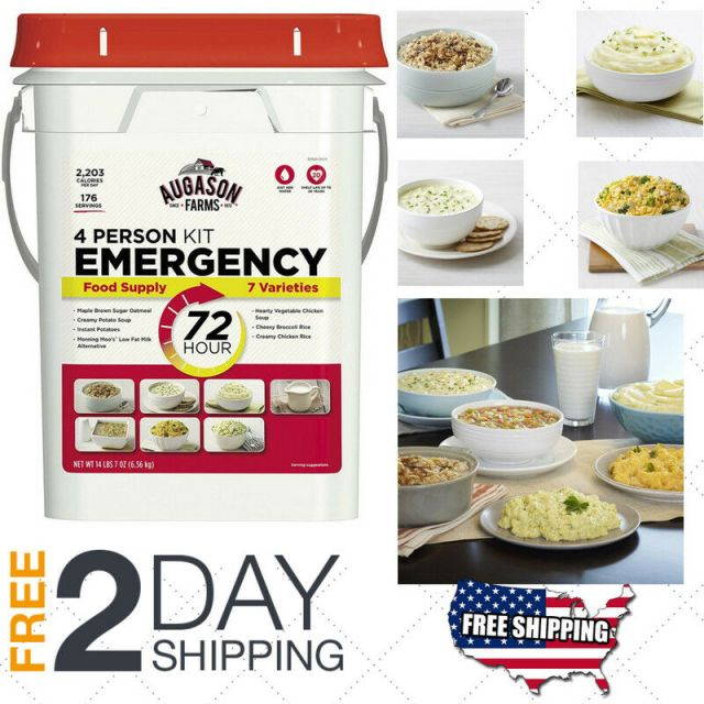Emergency Food Supplies Augason Farms 176 Servings Storage Survival Bucket 7oz 2