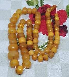 Amber baltic antique natural old egg yolk rare beads 35gramm ,bernstein