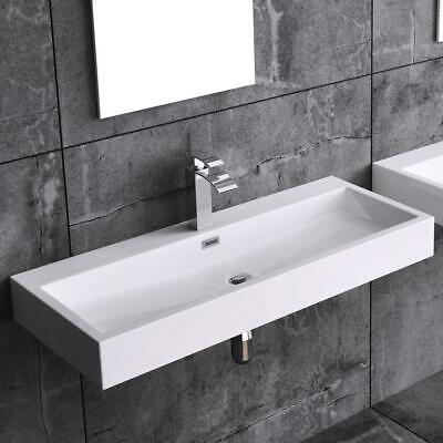 durovin bathrooms white sink wall hung countertop stone resin basin only 1000mm ebay