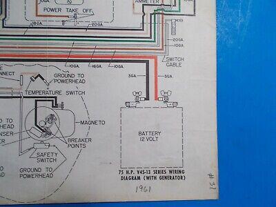 1961 johnson outboard motors 75hp v4s13 series model generator wiring  diagram  ebay