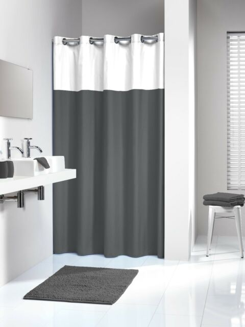 extra long hookless shower curtain 72 x 78 inch sealskin doppio gray