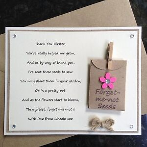 Personalised Thank You Teacher Poem Gift Magnet Forget Me