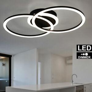 details sur design plafonnier led spot spot anneau lampe design noir mat dimmer modern neuf