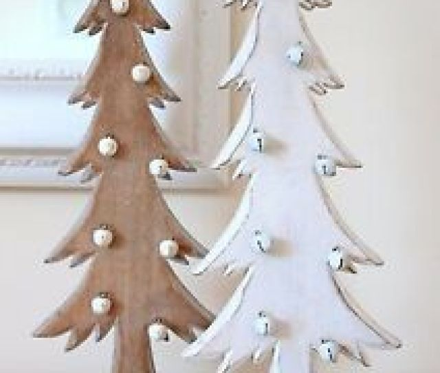 Image Is Loading Christmas Tree Decorations Wooden Christmas Trees With Bells