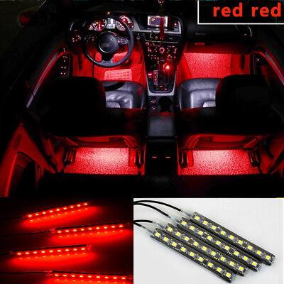 4x red led car interior under dash foot lighting kit led accent lights ebay