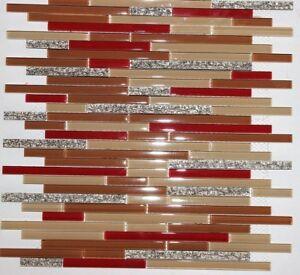 details about dynasty red glass strips tan gold copper vine mosaic tile backsplash tiles