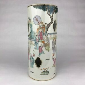 Antique Chinese Famille Rose Porcelain Hat Stand Signed