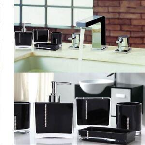 Luxe 4pcs Ensembles Acrylique Salle De Bain Accessoire Noir Set Diamond Decration Ensemble Cadeau Ebay