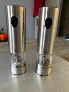 details sur peugeot lot de 2 moulins electrique inox elis peugeot 1 poivre 1 sel