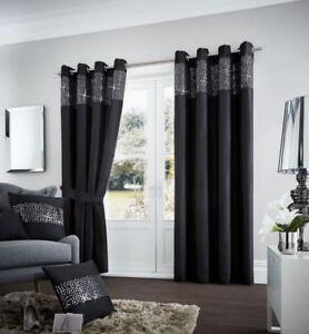 details sur nouveau noir paillettes a œillets et entierement double rideaux toutes tailles afficher le titre d origine