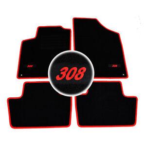 details sur 4 tapis sol peugeot 308 3 5 sw navteq sportium moquette logo rouge specifique
