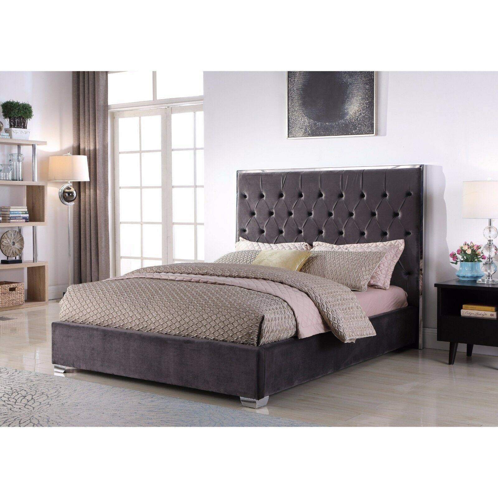Chrome Legs 1piece Bedroom Set Eastern King Size Bed