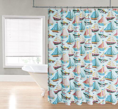 aqua blue sailboat nautical ocean green coral sailboats fabric shower curtain home garden patterer bathroom supplies accessories