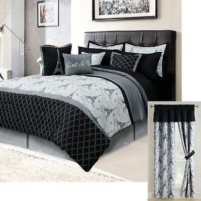 paris queen or king bedding bed in a bag 12 piece set eiffel tower black gray ebay