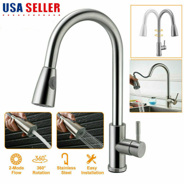 pull out chrome single hole kitchen faucet