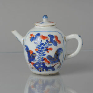 Antique Miniature Ca 1700 Chinese Imari Porcelain Teapot Kangxi Edo Roosters