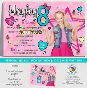 details about jojo siwa invitation invite birthday party personalised you print