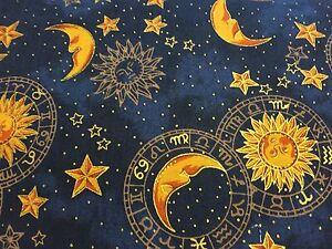 Winter Solstice Blue Cosmic Sun Moon Stars Fabric ...