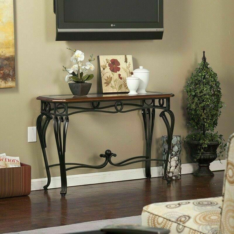 sofa table wood glass wrought iron hallway console cherry finish furniture new