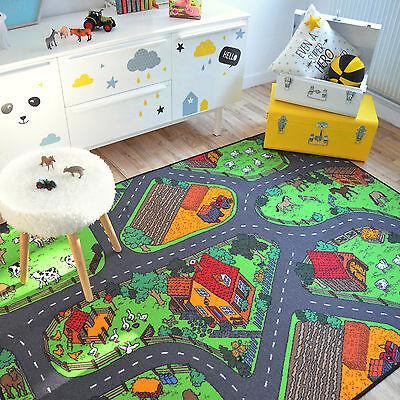 tapis de jeux circuit voitures campagne 145x200 cm chambre enfant garcon fille ebay