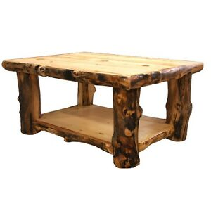 details about log coffee table country western rustic cabin wood table living room decor