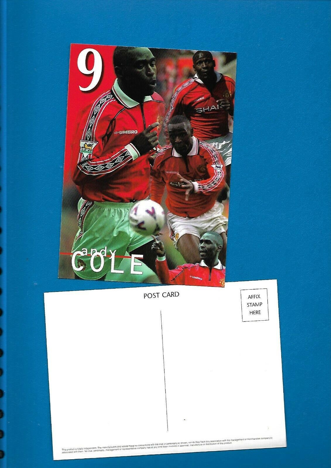 Football Postcard – Andy Cole of Manchester United approx 1999/2000
