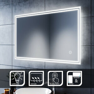 Miroir Salle De Bain Lumineux Led Miroir Avec Eclairage Avec Anti Buee Ebay
