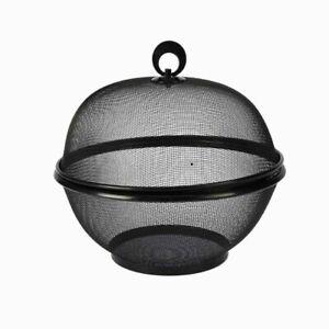 details sur corbeille a fruits en metal grillagee avec couvercle panier a fruits 26cm noir