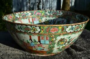 """SUPERB LARGE 14"""" ANTIQUE 19thC CHINESE FAMILLE ROSE PUNCH BOWL - CANTONESE"""