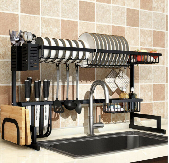 dish drying rack over sink drainer shelf for kitchen supplies storage counter
