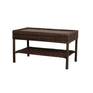 details about brown rectangular coffee table wicker outdoor patio w faux wood top storage