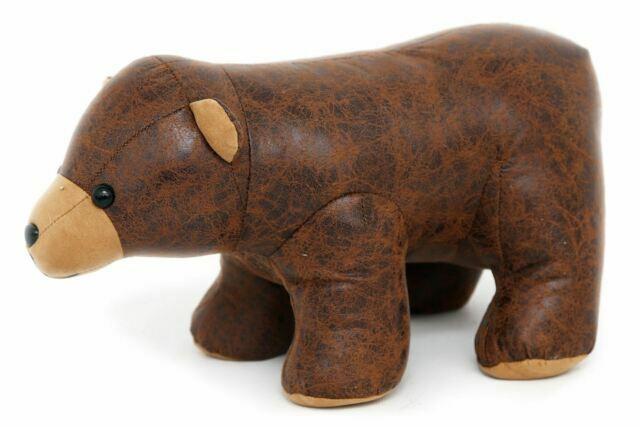 Brown Faux Leather Bear Design Doorstop Novelty Decorative Animal Door Stop For Sale Online Ebay