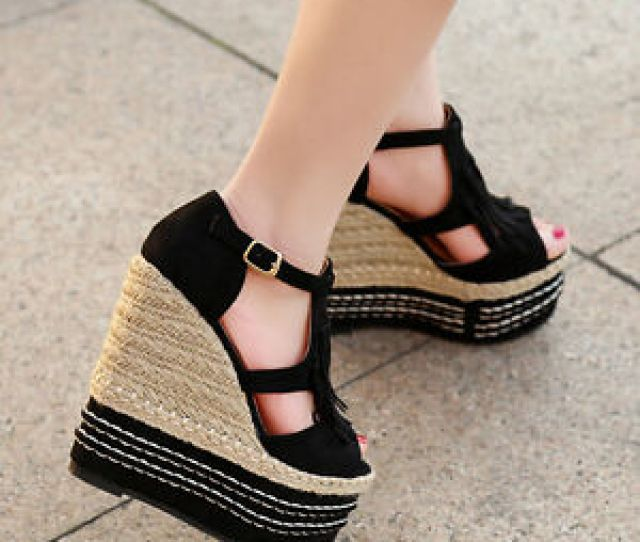 Image Is Loading Girls 15cm High Wedge Heel Sandals Boho Tassel