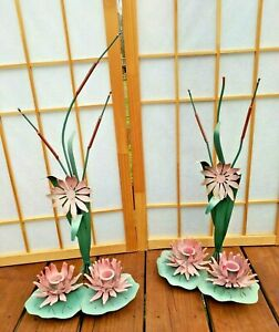 Pair Tole Metal Pink Water Lily Lilies Flower Floral ... on Candle Wall Sconces With Flowers id=23577