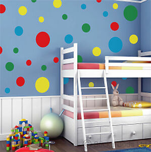Image Is Loading 44 Spot Dot Circle Round Wall Stickers Decals