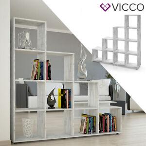details sur vicco etagere escalier cloison de separation 10 compartiments 140 cm beton